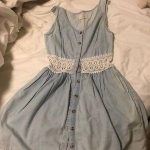 Light wash denim dress with lace detail